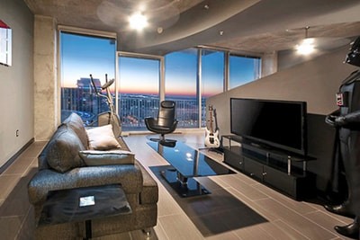 Luxury Downtown Orlando Condo Living Room Sunset View